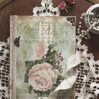 Vintage roses diary, journal, notebook,tagebuch, shabby chic diary, shabby chic journal, shabby chic notebook, vintage style journal, diario