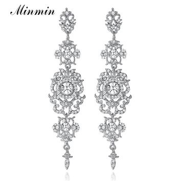Minmin Silver Color Crystal Wedding Long Earrings Floral Shape C 74b069a58