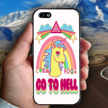 Unicorn Go To Hell - Print on hard plastic case for iPhone case. Select an option