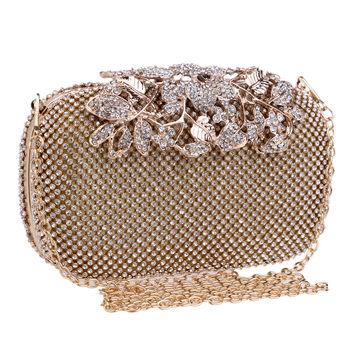 Flower Crystal Evening Bag Clutch Bags Clutches Lady Wedding Purse Rhinestones Wedding Handbags Silver/Gold/Black Evening Bag