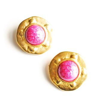 Gold and Purple Gem Clip-On Earrings