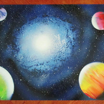 galaxy spray paint art,galaxy painting, space painting,galaxy decor,space poster,space wall art, 24*30,large painting
