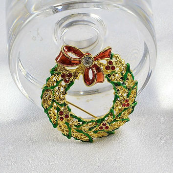Christmas Wreath Brooch Pin - Red Rhinestone Berries - Red Bow w/ Clear Rhinestone - Vintage Pin