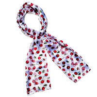 White Red Cherry Retro Chiffon Oblong Scarf