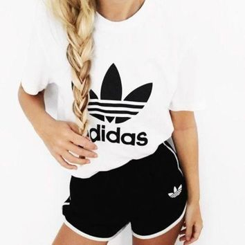 Adidas Fashion Casual All-match Embroidery Cotton Large size Top Short Sleeve Sweatpants Set Two-Piece