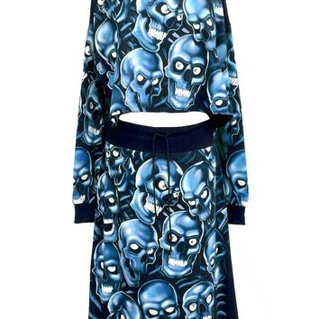Blue Glow In The Dark Skull Pile All Over Print Oversize Top & Skirt Co-Ord Set