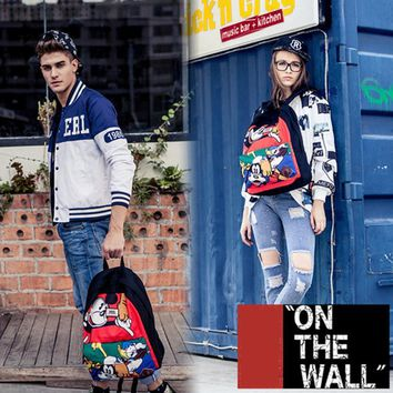 VansFashion Personality printing large capacity backpack bag leisure travel boom Mickey Mouse Donald Duck 7 style