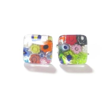 Murano Glass Millefiori Square Cuff Links