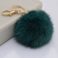 Gold Plated Keychain with Plush Cute Genuine Rabbit Fur Key Chain for Car Key Ring or Bags