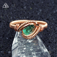 Size 7.5 Emerald Gem Rose Gold fill Wire Wrapped Ring