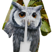 Owl and Leaves Kimono created by ErikaKaisersot | Print All Over Me