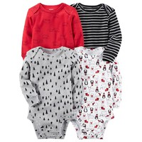 Baby Boy Carter's 4-pk. Long Sleeved Printed Bodysuits | null