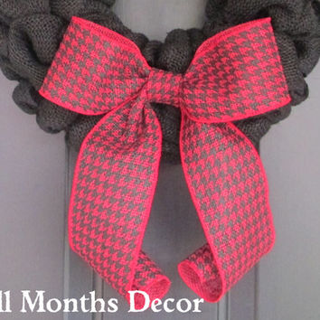 Red & Black Houndstooth Burlap Bow, Gingham Checkered Wreath Bow, Floral Bow, Valentine's Day, Spring, Easter