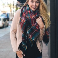 Blanket Scarf in Christmas Plaid