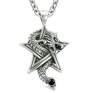 Courage Dragon Magical Powers Star Pentacle Amulet Black Simulated Onyx Pendant 18 Inch Necklace