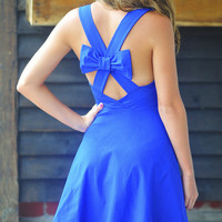Bow Me Away Dress: Royal Blue | Hope's