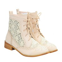 Vintage Crochet Sweet Round Toe Lace Up Ankle Boots for Women