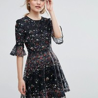 Oasis Lace and Daisy Print Dress at asos.com