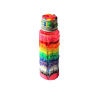 Glow in the Dark, Rainbow, Tie Dye, Swirl, Hand-Painted Plastic Mini Stash Jar