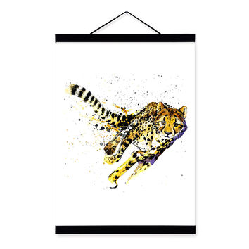 Leopard Watercolor Fashion Animal Wildlife Wooden Framed Canvas Painting Wall Art Print Picture Poster Scroll Bedroom Home Decor