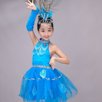 Newest Children Girls Chinese Costumes Kids Halter Peacock Dance Ethnic Costumes Stage Dancewear