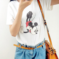 White Flying Mickey Mouse Printed Tee