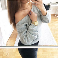 Round-neck Pullover Knit Tops Sweater [6372873668]