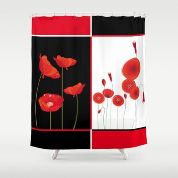Flaming Poppies Shower Curtain by Maria Biro