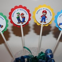 Personalized Super Mario Bros Cupcake Party Toppers Picks