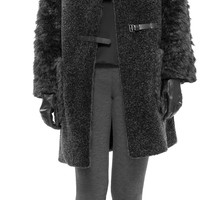 Faux Shearling Coat w/ Buckles by Leon Max @ Max Studio Official