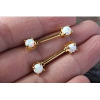 White Opal Gold Nipple Bar Jewelry Barbell