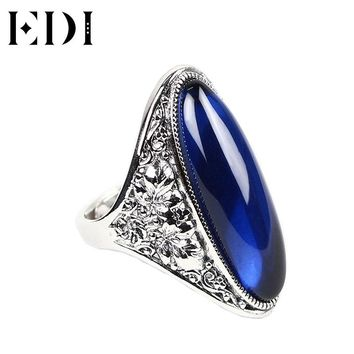 EDI 925 Sterling Silver Jewelry Big Oval Blue Natural Gemstones Sapphire Rings for Women Bohemian Thai Silver Female Rings