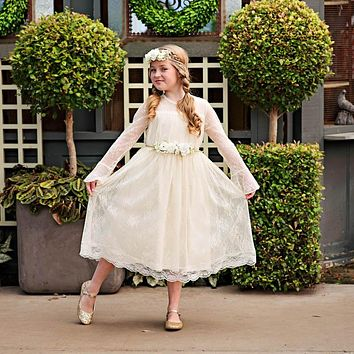 Ivory Lace Long Sleeve Carmella Midi Knee Tea Length Dress & Flower Sash