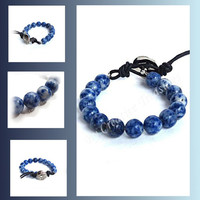 Sodalite Gemstone Bead Bracelet with Button Fastening