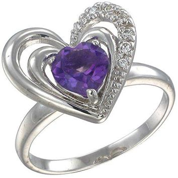 Sterling Silver Amethyst Heart Ring 1 CT