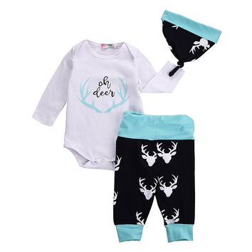 Newborn Bebek Giyim 0-18M Infant Baby Boy Girl Clothes Deer Long Sleeve Bodysuit Pant Hat 3pcs Outfit Bebes Autumn Clothing Set