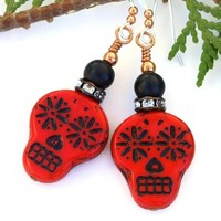Red Black Sugar Skull Earrings, Handmade Day of the Dead Halloween Dangle Jewelry