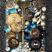 Gold and Blue Steampunk Junk Iphone 4/4s Case