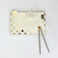 Gold Dots Pencil Pouch