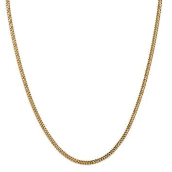 14K Yellow Gold 3mm Hollow Franco Chain 24 Inch