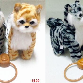 Toy Kitty – Battery Operated Walking & Tail Wagging Plush Cat - Colors May Vary