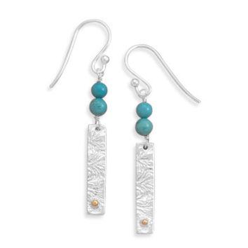Textured Bar with Turquoise Earrings