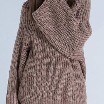 Brown High Neck Knitted Jumper