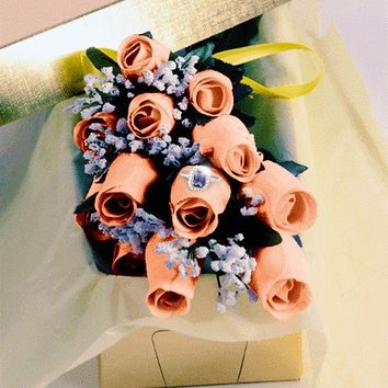 Georgia Peach Waxed Dipped Roses w/ Surprise Jewelry
