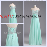 Mint Green Strapless Chiffon Beaded  Lace up Sweetheart Full Floor Length Bridesmaid Dress Simple Bridesmaid Dress Prom Wedding Party Dress