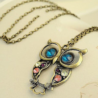 Mark Down Pretty Fashion Vintage Style Big Blue Eye Owl Pendant Long Necklace With Colorful Crystal and Bronze Copper Chain