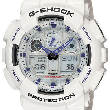 Casio GA100-7 Men's G-Shock Ana-Digi White Resin Alarm Dive Watch