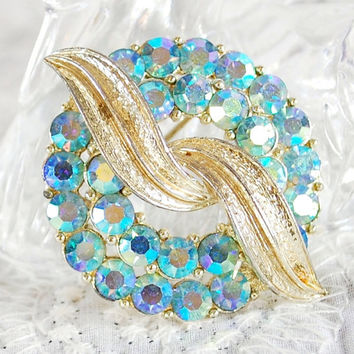 Vintage Rhinestone Brooch / Pin, Blue Aurora Borealis Crystal, Gold Leaf Circle Wreath, Designer CORO, 1950s Mad Men, Wedding Bridal Jewelry