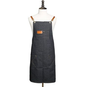 BLUESEBE UNISEX HANDMADE WAXED CANVAS AND LEATHER APRON WQ01
