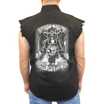 Men's Sleeveless Denim Shirt White Shut Up & Ride Biker